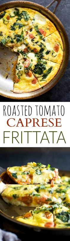 ROASTED TOMATO CAPRESE FRITTATA, an easy yet fancy looking holiday recipe that's perfect for breakfast, brunch or lunch! Filled with melted mozzarella, fresh basil, garlic infused spinach and roasted tomato – it's pretty much divine!