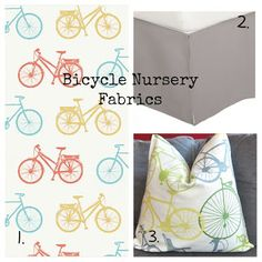 Bicycle Baby Nursery | Momma on the Run: Boy Bicycle Nursery {ideas and purchases} LOVE LOVE LOVE, when I get pregnant, I want a dress out of this material. :]