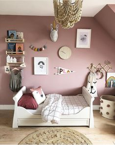 Features custom droplet Garland by Velveteen Babies, soft neutral flooring and accessories, and beautiful interior accessories- cre Dusky Pink Bedroom, Pink Bedroom Walls, Pink Bedroom For Girls, Big Girl Bedrooms, Bedroom Wall Colors, Pink Room, Pink Bedrooms, Girls Bedroom Mural, Childrens Bedrooms Girls