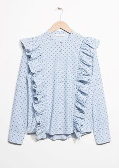 & Other Stories image 2 of Frills Button Down Blouse in Blue