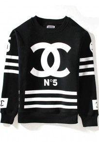Black Striped Figure Print Sweatshirt