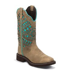 Justin Women's Laser Cut Western Boots. Someone please get me these.
