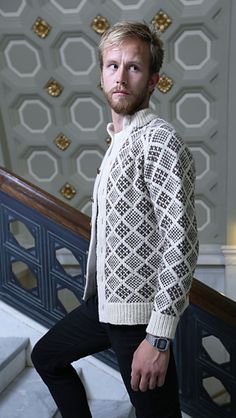 Ravelry: Streymoy pattern by Todd Gocken l love this pattern but he looks like he is wearing his mom' s sweater. Fair Isle Knitting, Free Knitting, Knitting Magazine, Men Sweater, Grandpa Sweater, Knit Sweaters, Knitting Designs, Pull, Lana