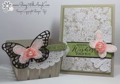 Butterfly Basics - Stamp With Amy K Sahara sand, blushing bride, pear pizazz, Early espresso Butterfly Cards, Flower Cards, Wedding Shower Cards, Berry Baskets, Scrapbooking, Bday Cards, Making Greeting Cards, Mothers Day Cards, Handmade Birthday Cards
