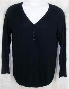 LANE BRYANT Sweater Top 14 16 Black Henley Lightweight Cotton Plus Solid #LaneBryant #Henley