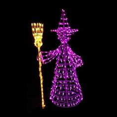 5 ft. 460-Light LED Purple and Yellow Twinkling Witch Sculpture-7407093.0 - The Home Depot