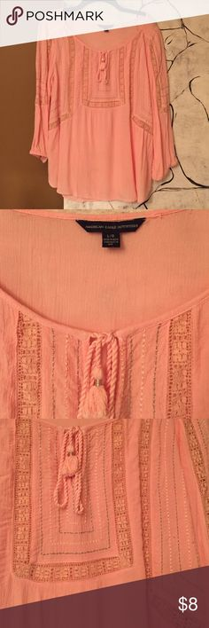 BOGO FREE 🍄AEO Boho top Pink with pink and gray stitch accents, lace. Elastic 3/4 sleeves. Great used condition! American Eagle Outfitters Tops Blouses