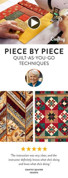 Idea for Africa fabric, angled strips. Learn how to prepare your foundation with batting and backing already incorporated, then dive into string quilting to quickly transform strips into dynamic blocks. Quilting Classes, Quilting Tutorials, Quilting Projects, Quilting Designs, Sewing Projects, Quilting Tips, Patchwork Quilting, Rag Quilt, Quilt Blocks