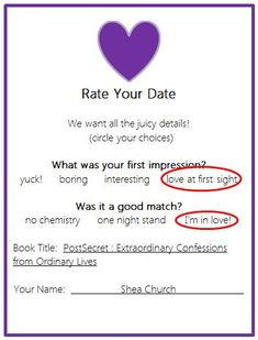 Rate Your Date - Blind Date with a Book, fun for reading during valentines day