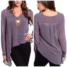 Purple Top Soft & sheer long sleeve top with buttoned closure & asymmetric hem. 100% polyester.  A9. Tops Blouses