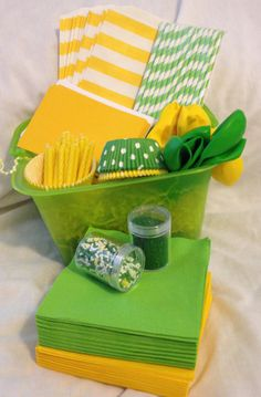 Green & Yellow Theme Party in A Box by PolkaDotPinwheel on Etsy, $40.00 Minecraft 9, Brazil Party, Orange Party, Party Props, Party Ideas, Yellow Theme, Australia Day, Party In A Box, Kids Corner