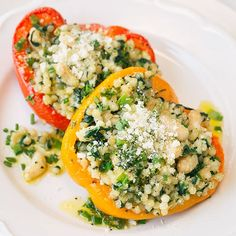 30 MINUTES to yum! With spinach, white beans, parmesan, and lemon-chive vinaigrette, pearled couscous stuffed peppers are an easy vegetarian twist on a classic. Garden Soil, Vegetable Garden, Pearl Couscous Salad, Making Couscous, Fresh Chives, Recipe Please, White Beans, Lunches And Dinners