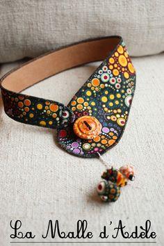 Collier textile et céramique en tissu noir à pois multicolores