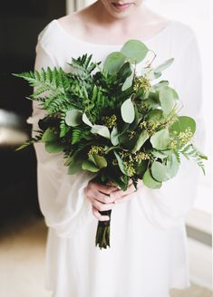 A Rockstar Wedding in Arkansas | Jeff + Megan by Layers evergreen bouquet, greenery bouquet, leafy bouquet, fern bouquet, eucalyptus bouquet