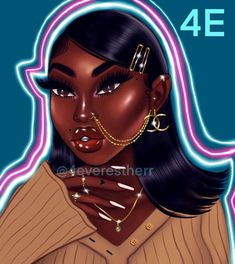 Black Girl Cartoon, Dope Cartoon Art, Black Art Painting, Black Artwork, Black Love Art, Black Girl Art, Drawings Of Black Girls, Baddie, Bratz