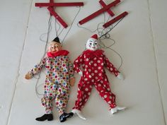 Just wrote the seller:  Thought you might like to know more... Left: This is No. 802 Bimbo. Right: This is No. 801 Teto (as you have mentioned). Both: available in Hazelle's brochures from 1950 to 1976. These both are the exact costumes and face paint scheme from the 1960 color brochure in my collection.