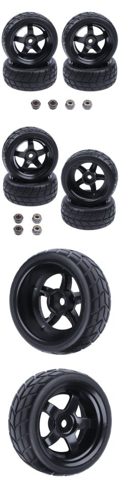 4 RC Tires /& Wheel Rims 12mm Hex 5 Spoke for 1//10 Scale On Road Touring Car