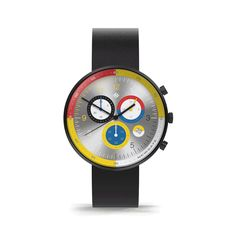 A modern British-designed men's chronograph watch. Brushed black case with multicoloured chronograph subdials in contemporary colour. Interchangeable multicoloured canvas and black leather straps. Latest Watches, Watches For Men, Black Watches, Leather Watches, Men's Watches, Sister Jewelry, Black Italians, Stainless Steel Case, Italian Leather