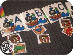 Pirate letter and beginning sound match a fun game for preschool, pre-k, and kindergarten