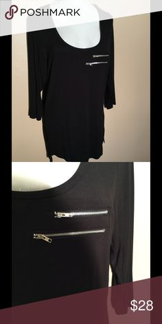 NWOT Black Tunic size 18/20 NWOT scooped net Tunic with two zippers on the front.  Hi/low hemline with 3/4 length sleeve. Ashley Stewart Tops Tunics