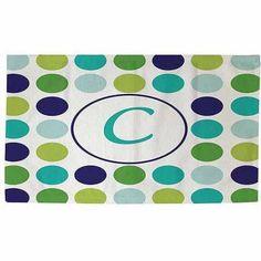 Thumbprintz Dots Monogram Green Rug