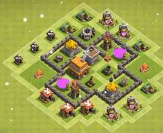 Best Town Hall 4 War, Farming and Hybrid Bases Anti Giants These base designs can defend giants archer and barbarians with ease. Town Hall 4, Clash Of Clans, Farming, Layouts, Base