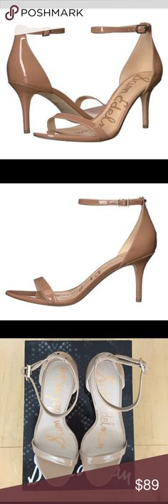 Sam Edelman Patti Nude Sandals Worn Once w Box Classic nude sandal in patent leather. Worn once. Sandal appears like new except for sole, which is pictured. Sam Edelman Shoes Heels