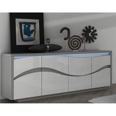 Cruise Modern Sideboard In Grey High Gloss With 3 Drawers And