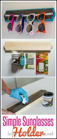 DIY Organization | Simple Sunglass Holder ~ This is so easy to make with a board and some elastic and way cheaper than constantly having to replace lost sunglasses!