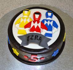Power Rangers Cake for Jace's 3rd birthday Tortas Power Rangers, Bolo Power Rangers, Power Rangers Birthday Cake, Power Ranger Cupcakes, Power Ranger Cake, Little Boy Cakes, Cakes For Boys, Kid Cakes, Milo Cake