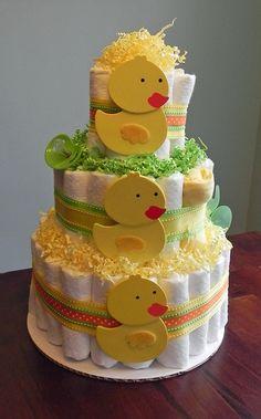 Yellow Duckie Diaper Cake   Three Tier Baby Shower by BabyBinkz, $79.50