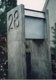 letterbox, concrete and galvaniced steel
