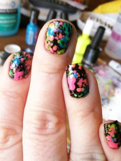 first nail job of the new year...a neon splatter mani