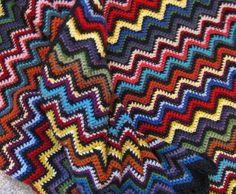 crochet blanket, Crochet  afghan, chevron, zig zag, rick rack, ripple, blanket, hand crocheted,. $200.00, via Etsy.