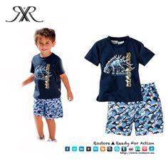 Conjunto Dino  T-shirt + calções Cor: Azul Tamanhos: 2A - 6A Preço: 15,50€ Por Encomenda http://www.rostore.eu/pt/203-conjunto-dino.html