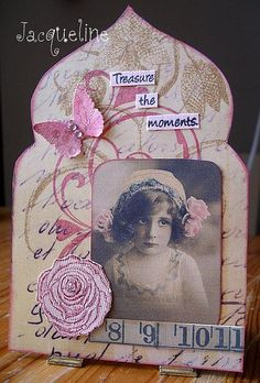 Every Sunday afternoon I played along with a Gothic Arch challenge - I just love this little girl image, will have to use her picture again