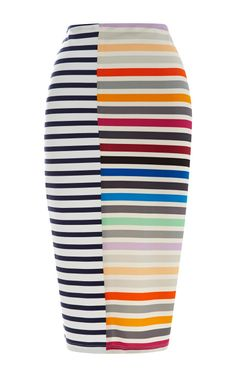 Peggy Striped Crepe-Jersey Pencil Skirt by Tanya Taylor Now Available on Moda Operandi