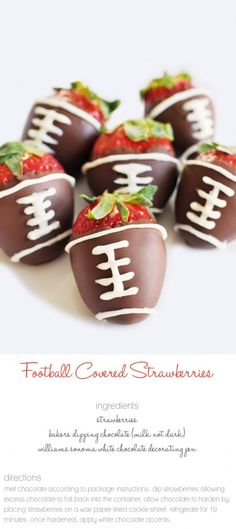 Football Chocolate Covered Strawberries - love these treats! Football Food, Football Cupcakes, Football Parties, Watch Football, Just Desserts, Delicious Desserts, Yummy Treats, Sweet Treats, Dessert Aux Fruits