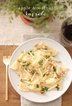 Homemade skinny ravioli recipe - apple & walnut