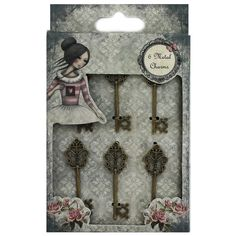 Mirabelle Metal Key Charms - Pack Of 6 | Arts & Crafts - New In! at The Works