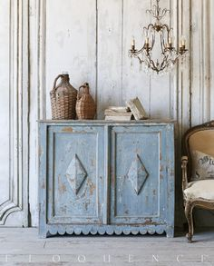 Stunning Sky Blue Antique Cabinet from Provence, Circa 1880 ELOQUENCE®