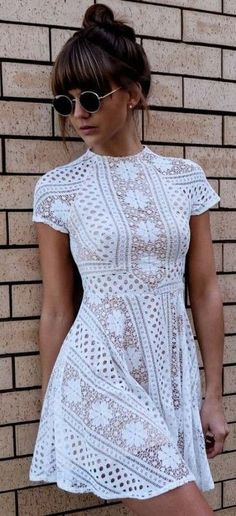 White Lace Dress @roressclothes closet ideas #women fashion outfit #clothing style apparel