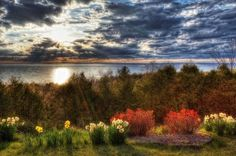 Art illustration of beautiful Egg Harbor I door county,  WI. USA