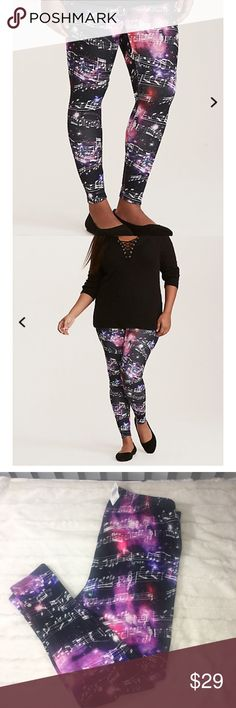 """NWT Torrid Galaxy Music Note Leggings Sz 2x If this pair of leggings was on a playlist, you'd play it again and again! The scuba material literally shoots for the stars with a cosmic print that dances with a musical pattern. With a stretch waistband and second-skin fit. High waisted 28"""" inseam Sz 2x Polyester/spandex Wash cold, dry low torrid Pants Leggings"""