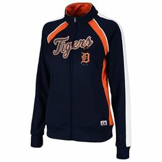 Majestic Detroit Tigers Ladies Great Play Track Jacket - Navy Blue