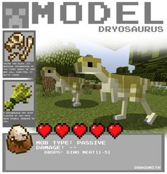 Model-Dryosaurus by Dragonith on DeviantArt Minecraft Fossils, Minecraft Mobs, Minecraft Plans, Minecraft Blueprints, Minecraft Creations, Minecraft Projects, Prehistoric Creatures, Mythical Creatures, Pusheen