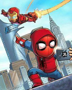 Marvel Drawing Chibi Iron Man and Spidey Marvel Dc Comics, Marvel Avengers, Heros Comics, Chibi Marvel, Avengers Cartoon, Marvel Cartoons, Marvel Art, Marvel Heroes, Spiderman Art