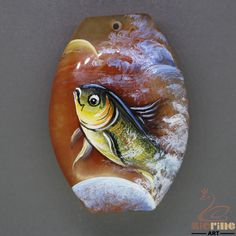Keychain Pendant Hand Painted Fish Natural Gemstone necklace ZL804766 #ZL #Pendant