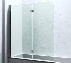 """Two-fold bath screen with rubber stopper instead of """"gut-buster"""" tub slide-rail:  Paroi De Douche Pare-Douche Pour Baignoire Verre De Sécurité Cortona1408"""