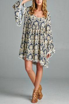Eliza Bella for Velzera Boho Damask Print Big Bell Sleeve Dress/Blouse Plus Size